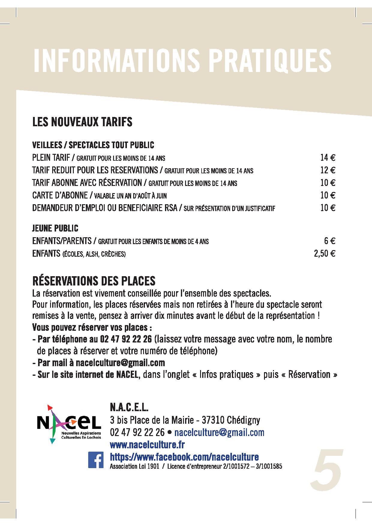 Nouveaux tarifs NACEL 2016